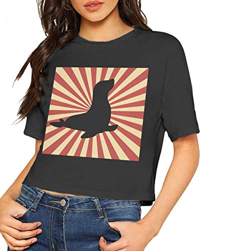LMNcrop Womens Sexy Short Sleeve T Shirts Vintage Retro Style Seals Are Freaking Awesome Crop Tops