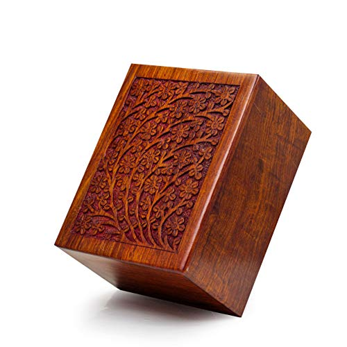 Nagina International Artisans Crafted Premium Rosewood Decorative Hand Carved Wooden Urns | Carved with Precision | Memorial Wooden Urns for Loved Ones (X-Large)