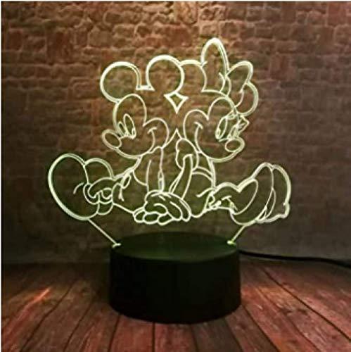 3D LED Veilleuse Illusion Mickey et Minnie Modèle 3D Illusion Veilleuse Coloré Changement Lumière Mickey Mouse Anime Figure Jouets pour Enfants