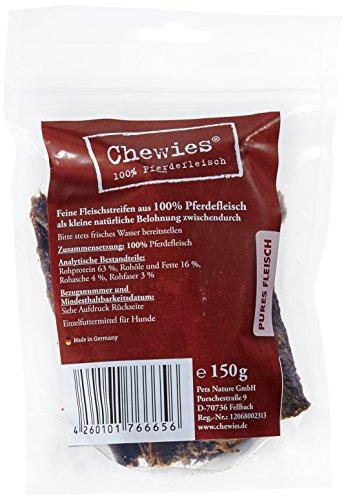 Chewies Hundesnack aus 100 % Pferd - 4 x 150 g - Fleischstreifen für Hunde - getrocknete Pferdefleisch Kaustreifen - hypoallergen & getreidefrei - Dörrfleisch vom Pferd (600 g)