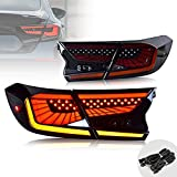 VLAND Full LED Starry Tail Lights Assembly Compatible For [Honda Accord 10th Gen 2018 2019 2020] Rear Lamps with Dynamic Animation Breathing Brake lights, Sequential Turn Signal, Smoked, Pair 4PCS