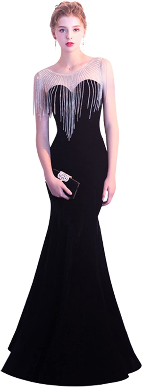 Epinkbridal Women's Sweetheart Neckline Mermaid Prom Dress with Beaded Tassels Long velevt Formal Evening Gowns