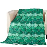 Thin Comforter Bedspread Throw Blanket Mermaid Scale Fish Scaled Lightweight Reversible Bedding Quilt Ombre Watercolor Green Quilted Coverlet for Couch Sofa Living Room 88x88 inch (Queen)