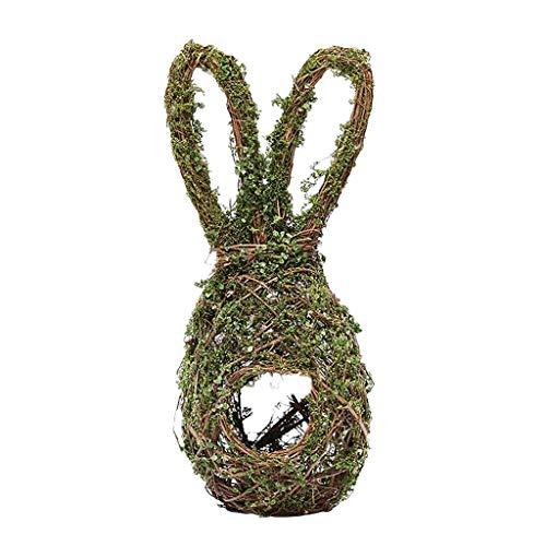 PETSOLA Casa de ratán para pájaros Hecha a Mano, Nido de cría de Aves con Forma de Conejo de Pascua, casa para pájaros Natural para Todo Tipo de pájaros,
