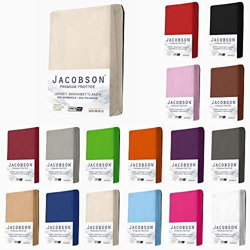 Jacobson Premium FROTTEE Spannbettlaken Spannbetttuch Bettlaken Baumwolle ca. 200g/m² (90x200cm - 100x200cm, Natur)