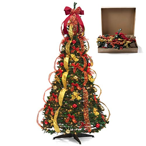 Fully Decorated Pre-lit 6 Ft Pull Up Pop Up Out of Box Ready Christmas Tree