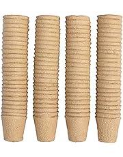 ZoneYan 100 Piezas Macetas de Semillas Degradables, Semilleros de Germinacion, Macetas de Plántulas, Macetas Biodegradables Pequeñas, Macetas de sSemillas de Fibra, 8cm, Herramientas de Jardinería