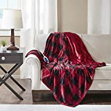 True North by Sleep Philosophy Buffalo Plaid Electric Blanket Throw Ultra Soft Plush Auto Shut Off with 3 Heat Level Setting Controller, Oversized - 5 Years Warranty, 60x70', Red