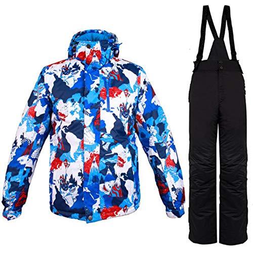 Herren Skianzug, Schneesicheres Ski-Outfit, Outdoor Skisport Hooded Ski Suits Set, Winddichter, Warmer, Atmungsaktiver und Wasserdichter Skianzug (Color : Blue red Black, Größe : Mittel)
