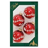 Cáncer de cristal Lauscha bolas de Navidad de color rojo con estrellas y renos, 4 unidades, diámetro de 7 cm
