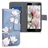 kwmobile Funda Compatible con Apple iPhone 6 / 6S - Carcasa de Cuero sintético Magnolias - con Tarjetero