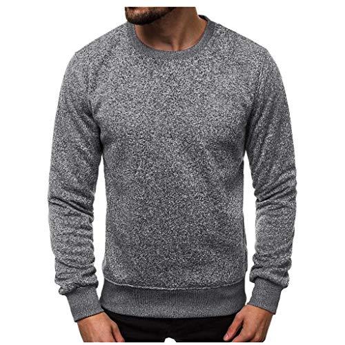 Lowest Price! WUAI-Men Casual Long Sleeve Raglan Crew Neck Sweater Sweatshirts Pullover Tops(Dark Gr...