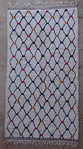 275 x 150 cm AZ36228 AZILAL Rug Ourika, Beni Ourain Vintage Berber Rug Morocco, Wool Karpet, Fleischererouit
