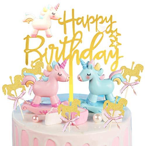 DreamJing Einhorn Tortendeko Mädchen Geburtstag Kuchen Topper Junge Happy Birthday Girlande, 3D Unicorn Blau&Pink für Kinder Geburtstag Kuchendeko