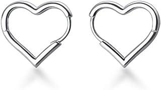 SLUYNZ 925 Sterling Silver 1.6CM Heart Hoop Earrings for Women Teen Girls Sweet Love Heart Earrings Drop