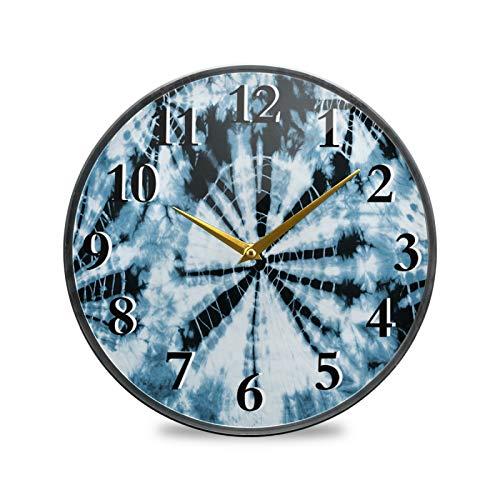Lerous Reloj de pared abstracto teñido anudado silencioso, de cristal grande, funciona con pilas, decoración moderna para cocina, sala de estar, dormitorio, habitación de los niños, oficina de 22,8 cm