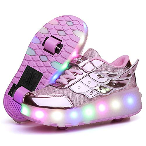 Nsasy Girls Sneakers Double Wheels Become Normal Sport Shoes Roller Skates LED USB Charging Closure Shoe for Kids Gift Birthday Christmas