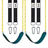 """2 Pack Swings Seats Heavy Duty with 66"""" Chain Plastic Coated, Playground Swing Set Accessories Replacement with Snap Hooks and Hanging Strap"""
