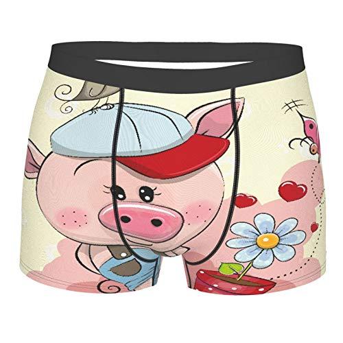 Popsastaresa Männerunterwäsche,Grußkarte niedlichen Cartoon Piggy Boy mit Blume, Boxershorts Atmungsaktive Komfortunterhose Größe M