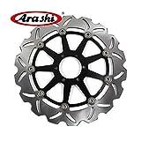 Arashi Rotores de disco de freno delantero para MOTO GUZZI V7 II RACER ABS 750 2015 / V7 II SPECIAL ABS 750 2015 / V7 II STONE ABS 750 2015 Accesorios para motocicletas Negro