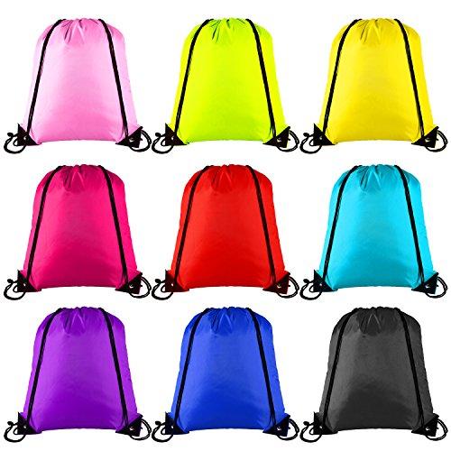 Keriber - Set di 9 zainetti a tracolla con coulisse da palestra, per lo sport o come custodia da viaggio, colori assortiti, mixed colour