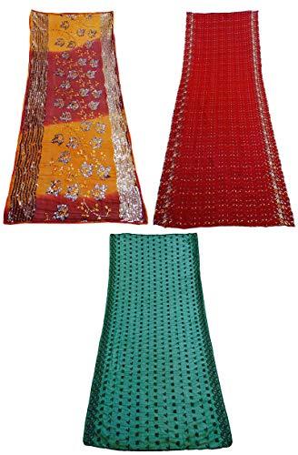 PEEGLI Paquete De 3 Piezas De Dupatta Georgette Bordado Indio Mezcla Bufanda Tradicional Tela Vintage Multicolor Ropa De Mujer Hijab