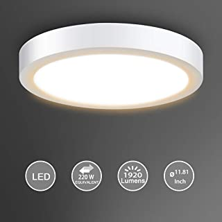Surface Mount Led Ceiling Light-24W Round Led Panel Light Fixture, 3000K, Warm White for Kitchen, Closet, Bedroom, Hallway 1920lm, Not-Dimmable(220 watt Halogen Bulb Equivalent)