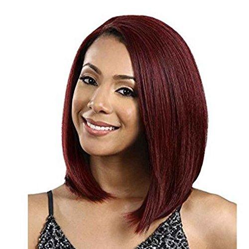 Xuanhemen Mode Femmes Cheveux droits Wgs Vin Rouge Perruque Perruque résistant à la chaleur Cosplay Perruques synthétiques