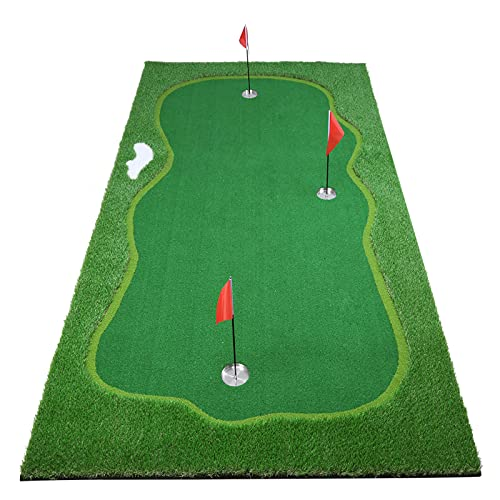 Facy Golf Putting Green Mat Indoor/Outdoor - Professional Golf Practice Mat for Put Training for Home Office Use