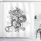 ABAKUHAUS Drachen Duschvorhang, Sketch Art Monster, mit 12 Ringe Set Wasserdicht Stielvoll Modern Farbfest & Schimmel Resistent, 175x220 cm, Weiß Schwarz