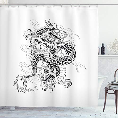 creature Kunst Drachen Schmaler Duschvorhang