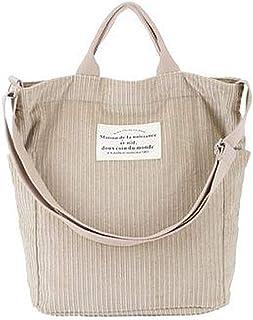 Hallolife Cord Tasche Damen Umhängetasche Shopper Casual Handtasche Einkaufstasche Chic Schulrucksack für Travel Office Sc...