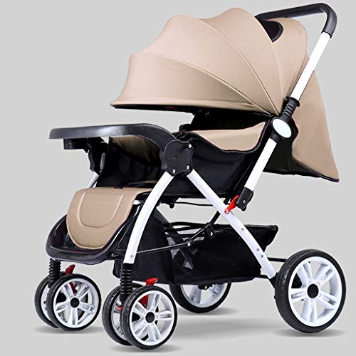 Cheap TXTC Multifunctional Pushchair,Compact Convertible Luxury Strollers, Baby Stroller,Portable Pram Carriage ,5-Point Harness and High Capacity Basket (Color : Brown)