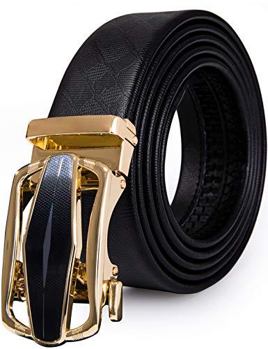 Mens Designer Belt Black and Gold Automatic Buckle Alloy Genuine Leather Ratchet Belt,Trim to Fit(43.3'',110cm)