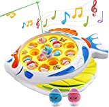 Fishing Game Set Fishing Toys for Toddlers Rotating Board Music Toy with Music On/Off Switch for Quiet Play Includes 15 Shark Fishes and 2 Fishing Rods Boys & Girls Birthday Gifts for Ages 4 and Up