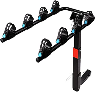 XCAR 4 Bike Bicycle Carrier Racks Hitch Mount Double Foldable Rack for Cars, Trucks, SUV's and minivans Fit for 2 Inch Hitch Receiver
