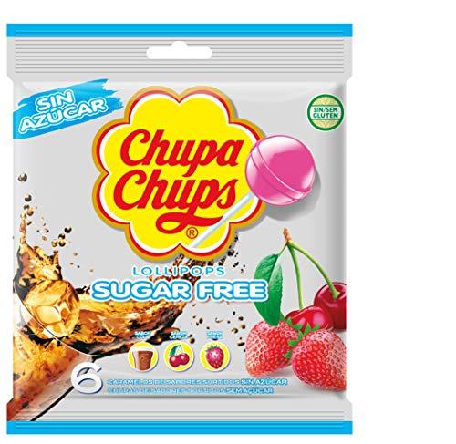 Chupa Chups sin Azúcar Caramelo con Palo de Sabores Variados, 6 x 11g
