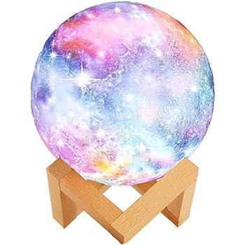 WYCY Cielo Estrellado Lampara Luna 3.1 Inch 2 Colores Control Táctil Lamparas de Buro Lampara de Lava Conmutada Brillo con Puerto de Carga USB (Lámpara Luna Estrellada 3 Colores, 8CM)