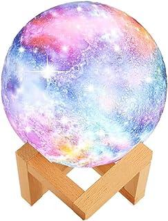 WYCY Lámpara de Luna Estrellada 8CM 3 Colores 3D Cielo Estrellado Luna Lámpara Toque Controlar y Pat Control con Lámpara de Carga USB Galaxia (Lámpara de Luna Estrellada 3 Colores, 8CM)