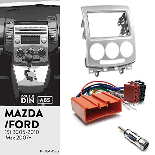 UGAR 11-084 Doppel DIN Radioblende Dash Installation Faszie Kit + Autoradio GPS Navigation-Adapter + Radioantennen-Adapter für Ford i-Max 2006-2009 / Mazda (5), Premacy 2005-2010