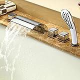 Rubinetto/miscelatore per vasca da bagno, set soffione doccia, raccordo cromato, 5 pezzi, a cascata