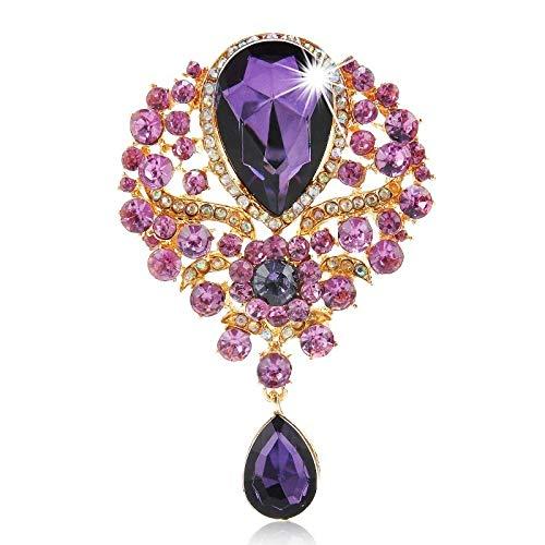 Neaer Broche para mujer y hombre, diseño de ramo de novia con diamantes de imitación de cristal transparente con forma de lágrima, accesorio (color del metal: 3)