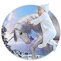 ラウンドソフトエリアラグ3Ftfor Kids Baby Girls Teen's Room Circle Nursery Rug for Bedroom Living Room Home Decor、White Unicorn Animal Beautiful