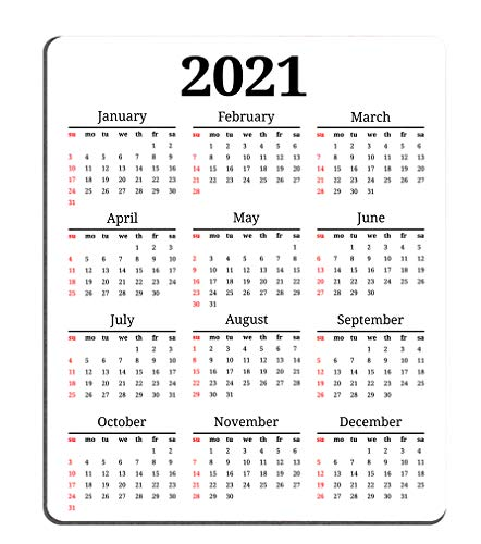 Smooffly Gaming Mouse Pad Custom,2021 Calendar Non-Slip Rubber Mouse Pad Mousepad 9.5 X 7.9 Inch (240mmX200mmX3mm)