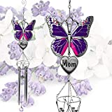 BANBERRY DESIGNS Mom Butterfly Windchime - Memorial Wind Chimes for The Loss of a Mother - Purple Butterfly Wind Chime with Engraved Mother Heart - Garden Chimes - Gift for Mom