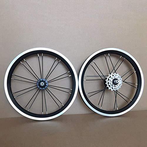 TYXTYX Juego de Ruedas de Bicicleta BMX de 14 16 Pulgadas, Freno de llanta, Rueda Delantera y Trasera de Bicicleta Plegable con piñón 9 13 17T, buje de rodamiento Sellado 940g