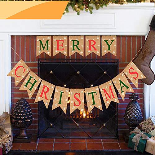 Jolik Burlap Merry Christmas Banner with Snowflakes - Christmas Burlap Banner Decoration for Home Christmas Decor