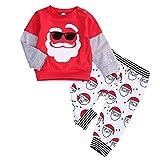 Infant Baby Boy Christmas Outfit Santa Splicing T-Shirt Tops,Santa Print Stripe Pants Clothes Set 6 M-4 T