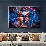 Lienzos Pintura al óle Pinturas artísticas en lienzo con cara de Buda abstracta colorida, póster de budismo e impresiones, Cuadros modernos para sala de estar sin marco 60x90cm