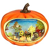 Pumpkin Festival Decor,Pumpkin Table Accent for Fall Harvest Decorating, Lighted Snow Globe with Swirling Glitter,Thanksgiving Pumpkin Fall Harvest for Home Decor